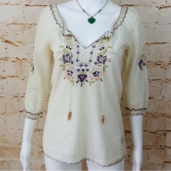 0a294943a879b3 Anthropologie Tops | Ann Myra Hand Embroidered Top | Poshmark